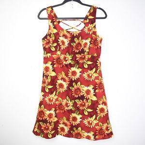 Vintage 1990s Sunflower Lace Up Sundress